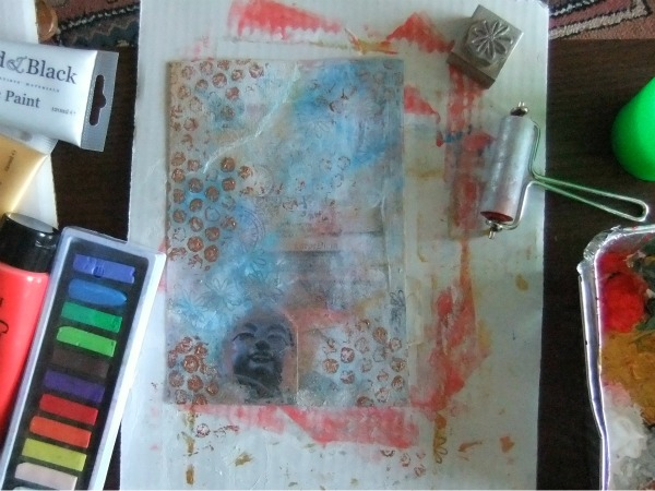 Filofax paint over collage
