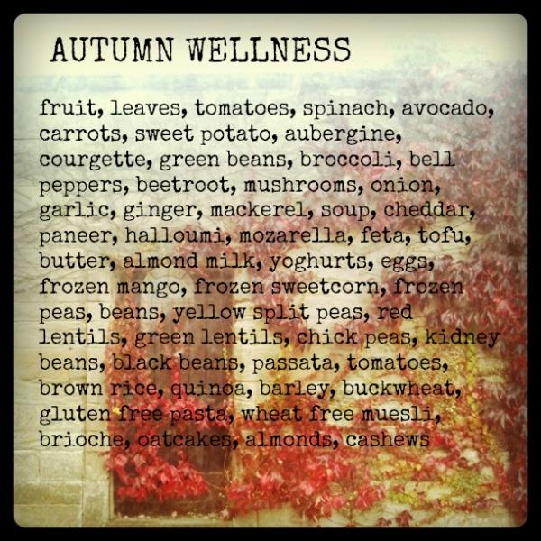 autumn wellness menu shopping list